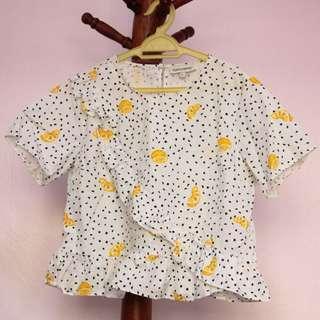 Polka Dot Lemon Print Blouse