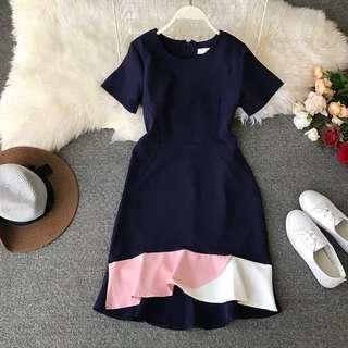 Navy Pink White Mermaid Frill Dress