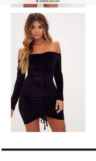 Black velvet long sleeve Bardot Ruched size 14