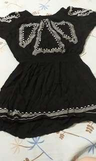 Boho Black off shoulder dress