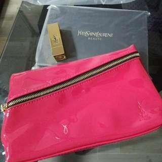 YSL唇膏 (珊瑚粉紅色)連化妝袋及隨身座枱鏡