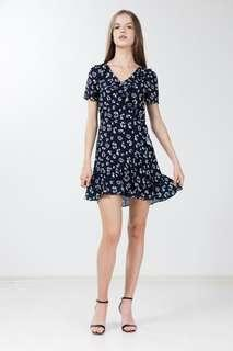 22 Mailed BNWT Safina Ruffled Dress in Navy Blue