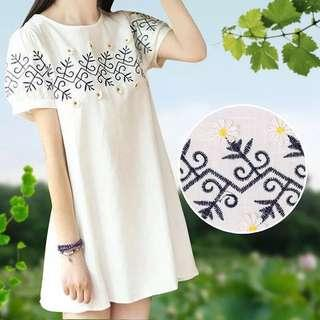BNWT White Embroidery Dress Long T-shirt Tee