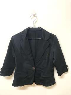 🚚 👩⚖️俏麗專業-OL風七分袖黑色單釦西裝外套