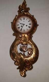 古董機械鐘高33吋、寬12吋、 厚五吋