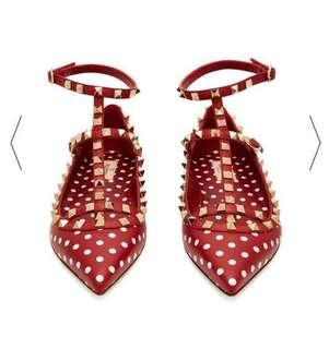全新 Valentino #39.5 超可愛紅白點點平底鞋 $18800出售