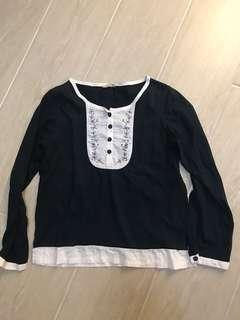 Embroidered Cotton top navy blue