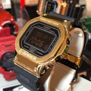🔥🔥🔥💯% authentic and original Casio G-Shock DW5600 in custom gold metal bezel and gold custom keeper , Casio , CASIO , casio , gshock , g-shock , GSHOCK