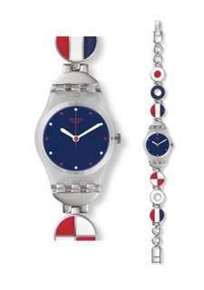 Swatch Marinette Watch LK344G Analog Stainless Steel Blue, Red, Silver, White-New