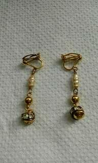 古董珍珠碎鑽耳環