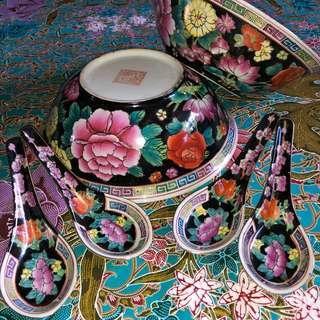 Black Ground Mille Fleur Bowls and spoons set