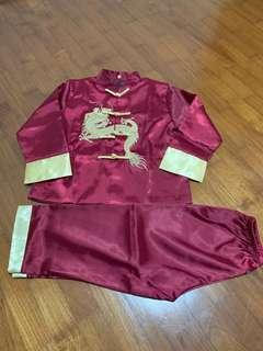 Traditional chinese clothes shirt pants red gold