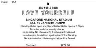 BTS Singapore Concert - Cat 2 Blue