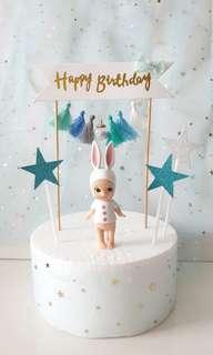 Happy Birthday Pompom Cake Banner with Baby Angel & Stars/Hearts