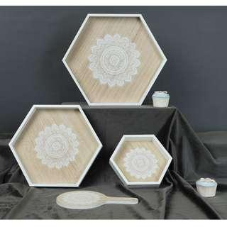 "🚚 WoodyWood Hexagon ""Mandala Inspired"" Tray/ Container/ Deco for Cakes/ Pastry"