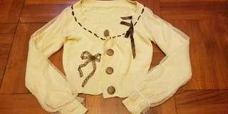 ❣️ 杏色蝴蝶結針織短冷外套 Beige knitted sweater with a bow on side