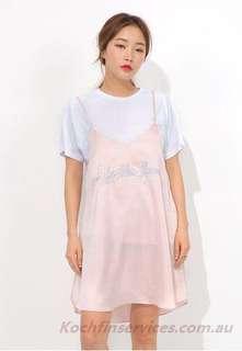 K Style Romantic Lettering Life Like Flowers Mini Dress