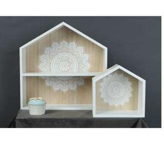"NEW DESIGN Woody wooden Cake House/ Shelf/ Deco Display with ""Mandala"" Print - 2 sizes"