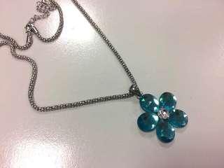 超閃 bling bling 彩藍色花花頸鍊 頸鏈