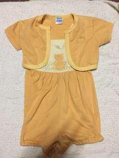 🚚 橘色兩件式洋裝-1y