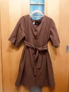 🚚 巧克力色綁帶洋裝