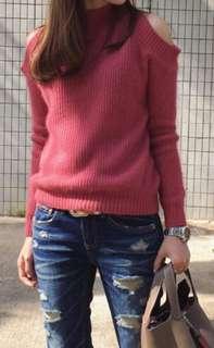 Made in Korea 韓國兔毛冷衫 顯瘦 露肩 露膊 企領 磚粉紅色 冷衫 Top