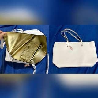 Victoria's Secret White and Gold Tote Bag