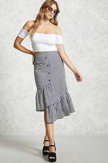 Gingham Ruffled Midi Skirt