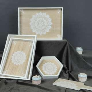 "NEW Woody Wood Rectangle Cakes/ Pastry Tray with ""Mandala"""