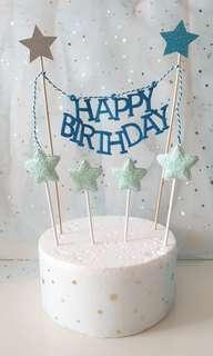 Happy Birthday Cake Banner with Shimmering Stars/Hearts