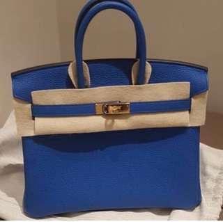 BN Birkin 30 Bleu Zellige Togo GHW