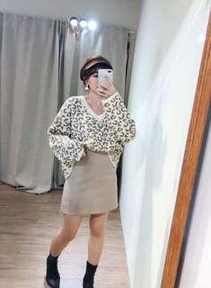 豹紋款v領針織毛衣上衣