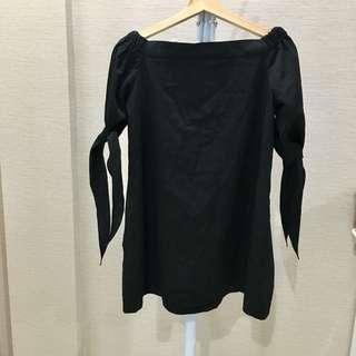 Aforarcade off shoulder black dress
