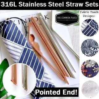 *NEWEST* Pointed End 3pc 316L Stainless Steel Drinking Straws w/ Pouch