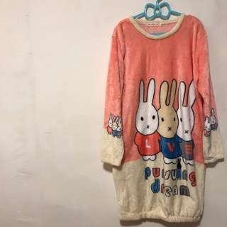 超保暖❤️法蘭絨兔兔睡衣洋裝