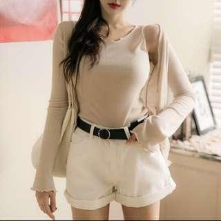 White high waist shorts