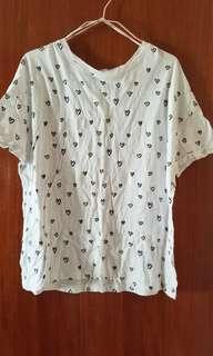 👕 Zara 夏天白色心心 summer white heart pattern t-shirt