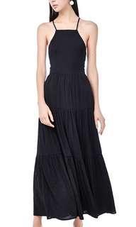 TEM GIGI Lace-up Maxi Dress