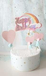 Happy Birthday Rainbow Cake Topper with Hearts