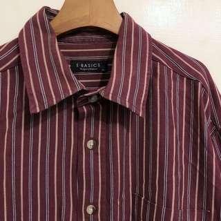 GV 古著 直條 紅 復古襯衫