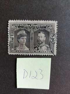 D123 英屬加拿大郵票 1908年已銷郵票