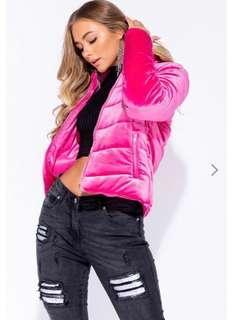 Hot Pink Velvet Puffer Jacket /Coat