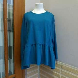 Blouse jumbo biru / baju menyusui jumbo