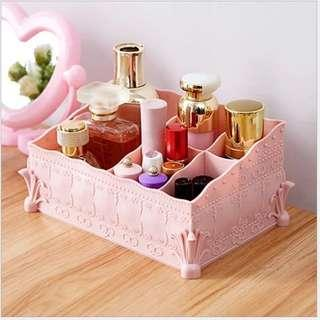 Instock Organizer Lady Pink Girly Frilly Pattern Makeup Storage Divider Stationery Jewelry Container Box Display Frills