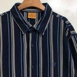 GV 古著 藍直條 深藍 復古襯衫