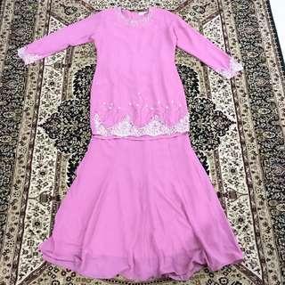 Baju Kurung Manik / Kurung Modern Beaded in Dusty pink
