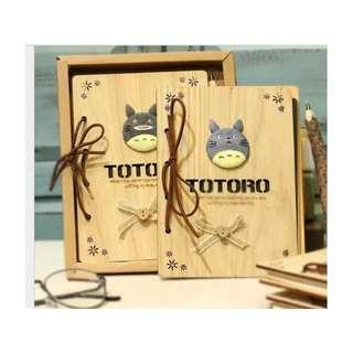 Woodywood TOTORO Notebook with Wooden Pen in Gift Box