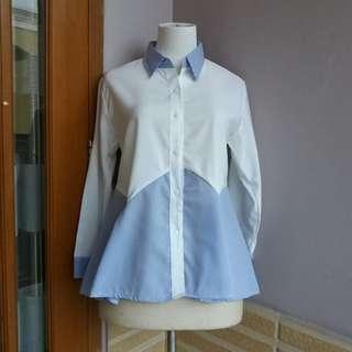Blouse kemeja putih biru