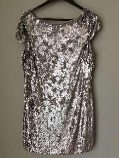 Silver sequinned party dress