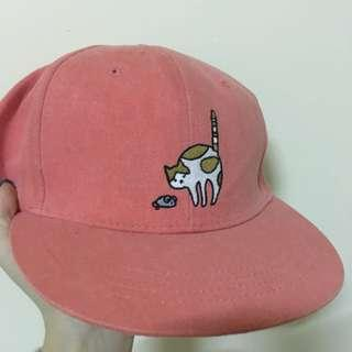 🚚 深粉色刺繡貓貓棒球帽 韓貨 韓國製